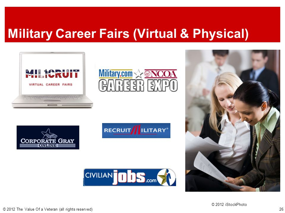 Military Career Fairs (Virtual & Physical) © 2012 iStockPhoto © 2012 The Value Of a Veteran (all rights reserved) 26