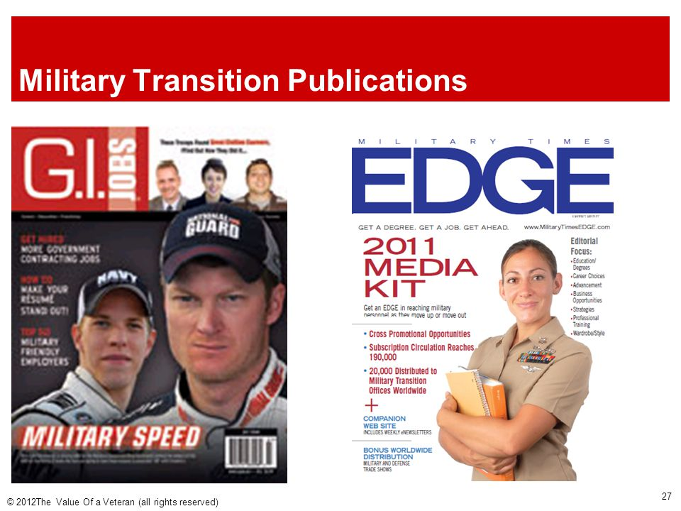 Military Transition Publications © 2012The Value Of a Veteran (all rights reserved) 27