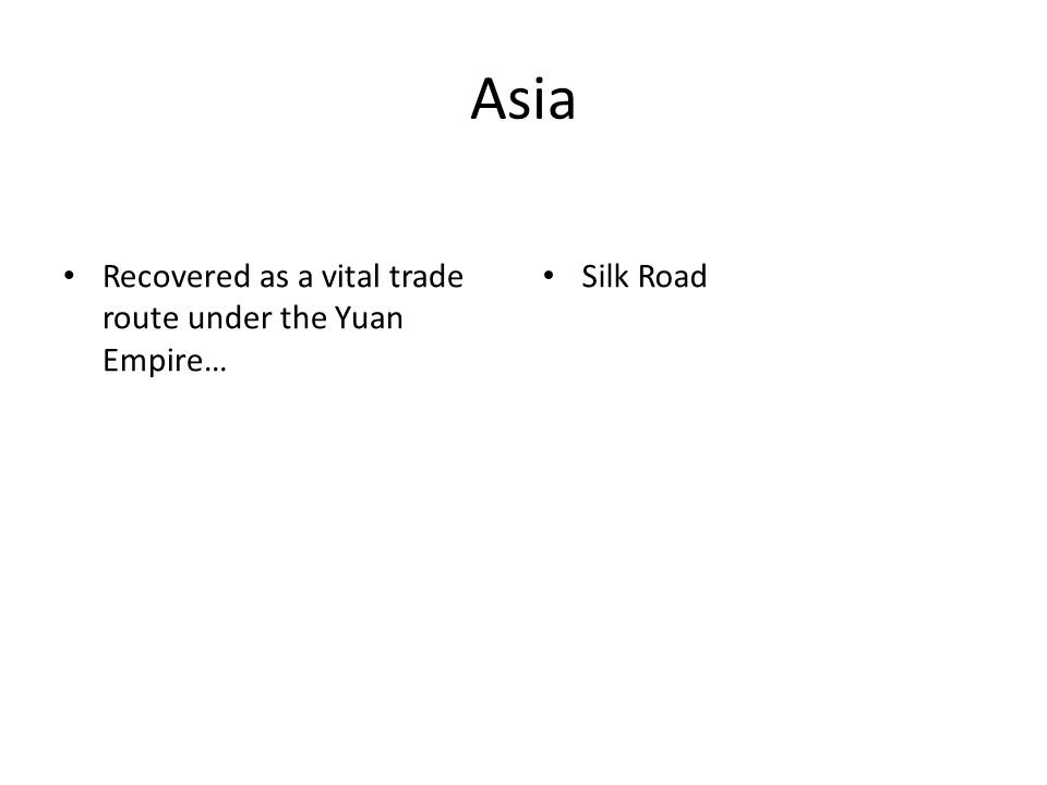 Asia Recovered as a vital trade route under the Yuan Empire… Silk Road