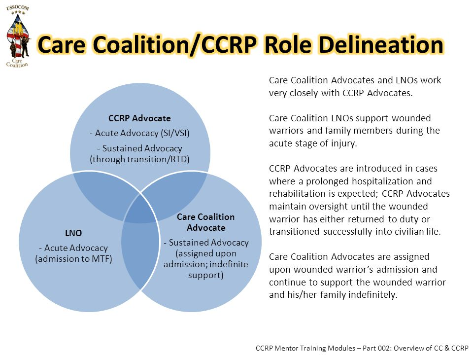 CCRP Advocate - Acute Advocacy (SI/VSI) - Sustained Advocacy (through transition/RTD) Care Coalition Advocate - Sustained Advocacy (assigned upon admission; indefinite support) LNO - Acute Advocacy (admission to MTF) Care Coalition Advocates and LNOs work very closely with CCRP Advocates.