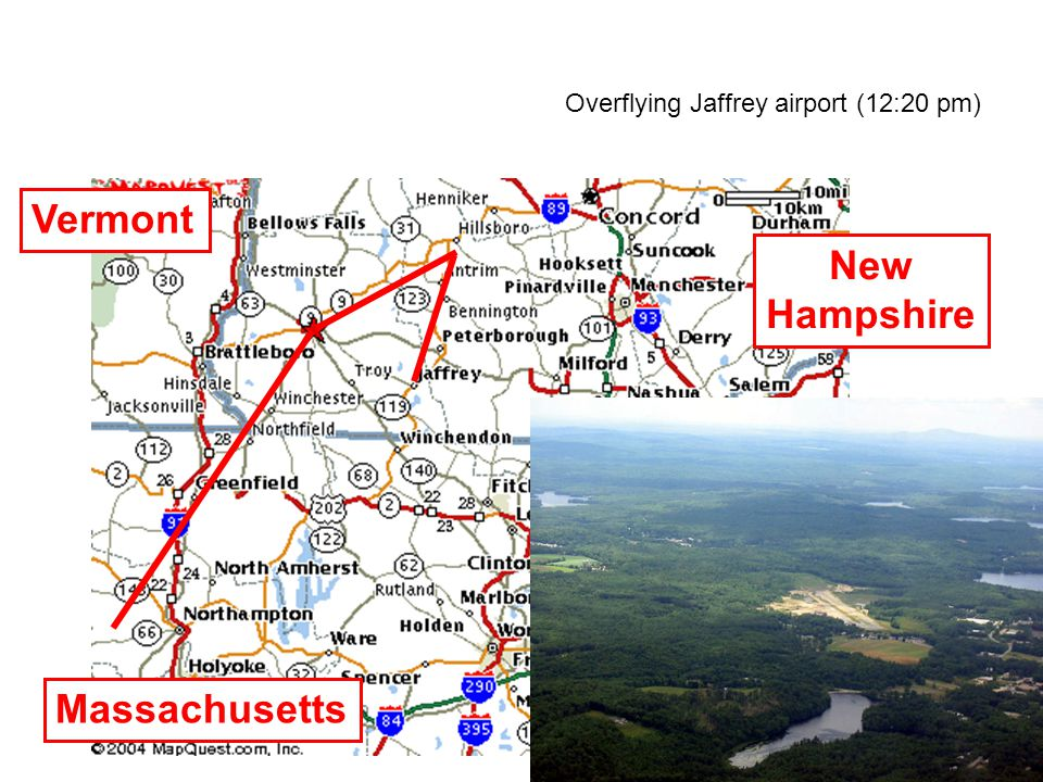 Overflying Jaffrey airport (12:20 pm) New Hampshire Massachusetts Vermont