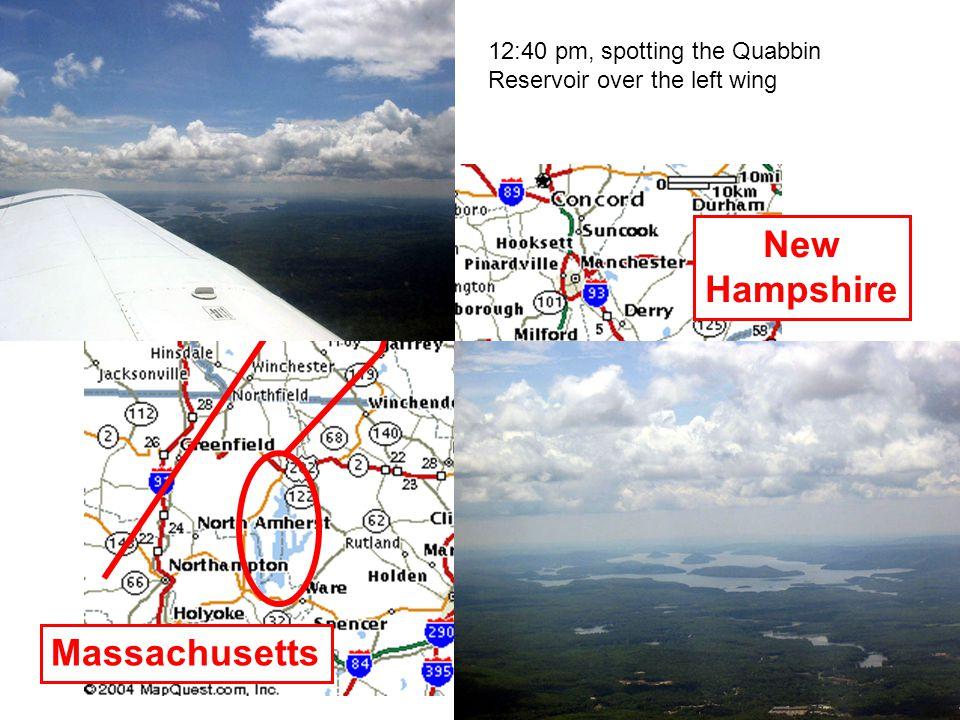 12:40 pm, spotting the Quabbin Reservoir over the left wing New Hampshire Massachusetts Vermont