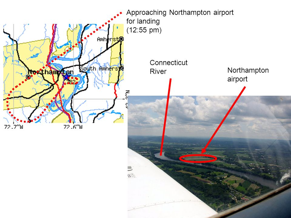 Approaching Northampton airport for landing (12:55 pm) Connecticut River Northampton airport