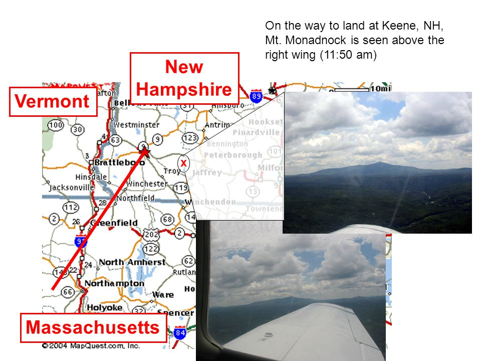 On the way to land at Keene, NH, Mt.
