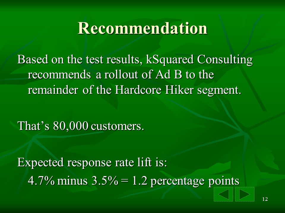 12 Recommendation Based on the test results, kSquared Consulting recommends a rollout of Ad B to the remainder of the Hardcore Hiker segment.
