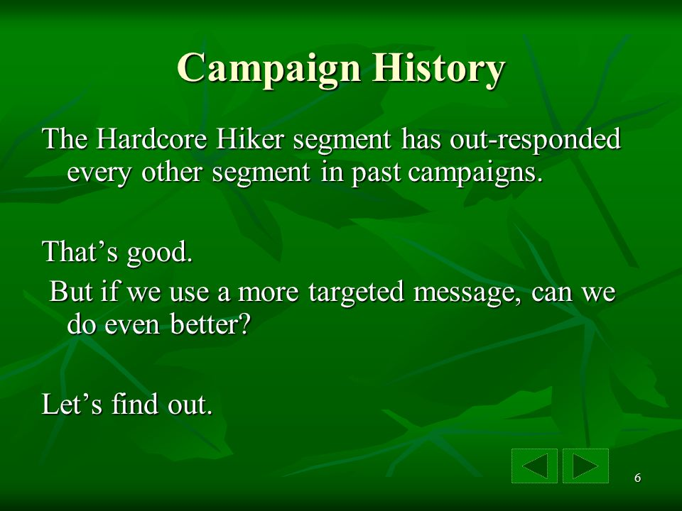 6 Campaign History The Hardcore Hiker segment has out-responded every other segment in past campaigns.