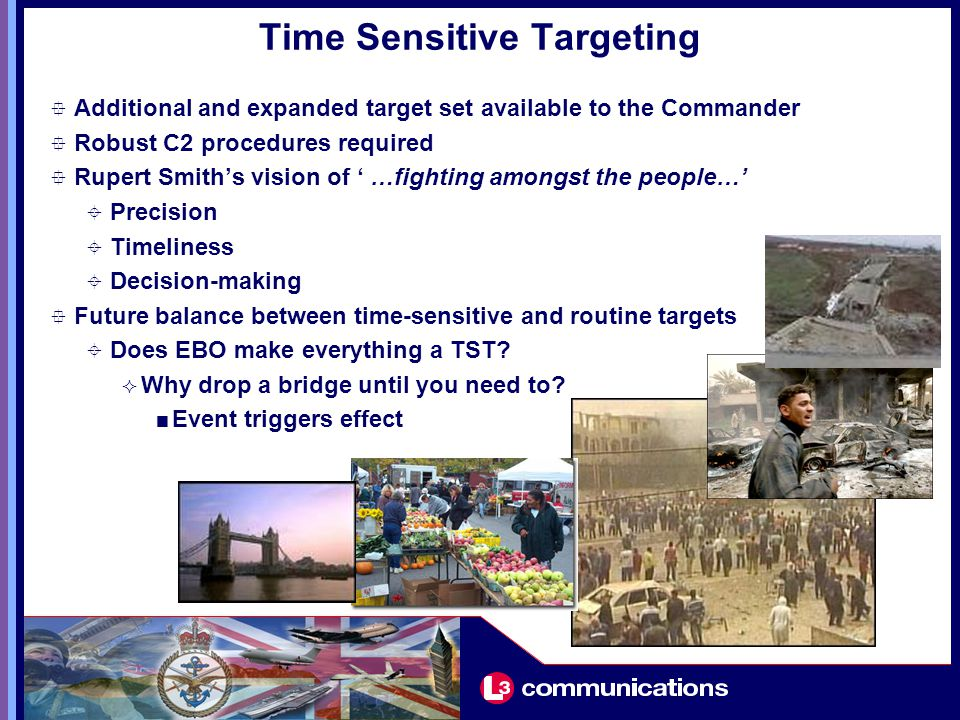 Time Sensitive Targeting  Additional and expanded target set available to the Commander  Robust C2 procedures required  Rupert Smith's vision of ' …fighting amongst the people…'  Precision  Timeliness  Decision-making  Future balance between time-sensitive and routine targets  Does EBO make everything a TST.