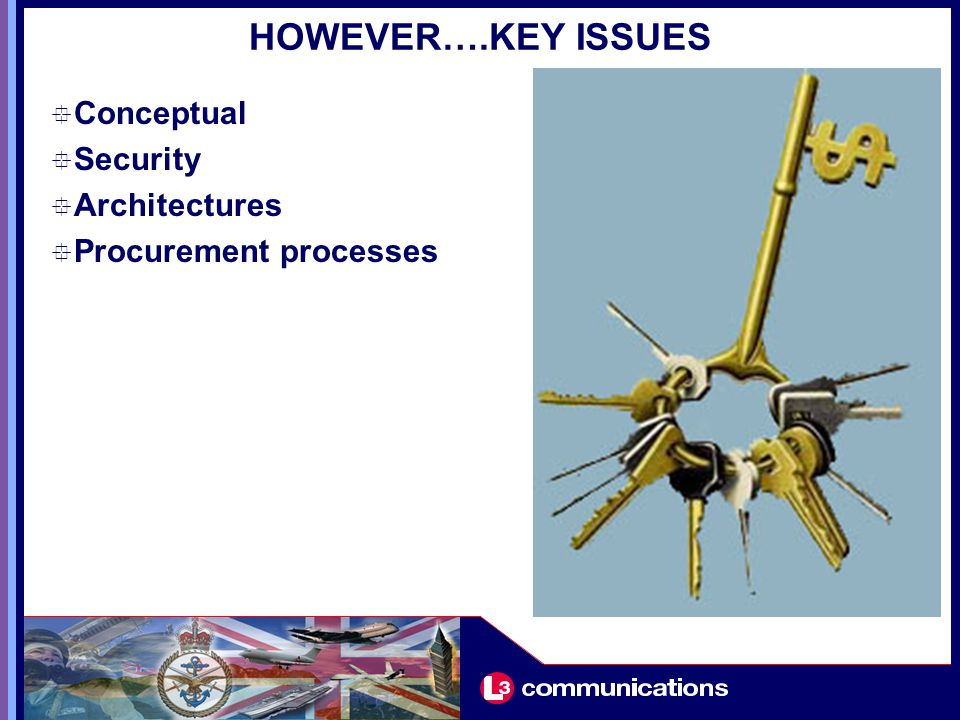 HOWEVER….KEY ISSUES  Conceptual  Security  Architectures  Procurement processes