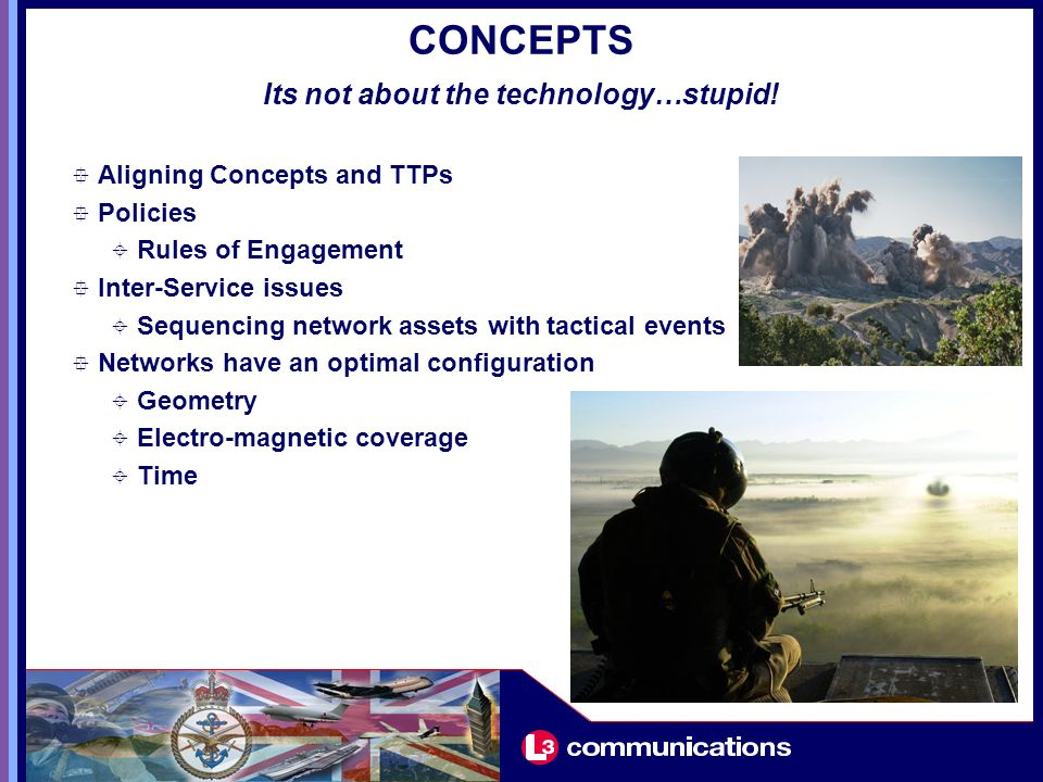 CONCEPTS  Aligning Concepts and TTPs  Policies  Rules of Engagement  Inter-Service issues  Sequencing network assets with tactical events  Networks have an optimal configuration  Geometry  Electro-magnetic coverage  Time Its not about the technology…stupid!