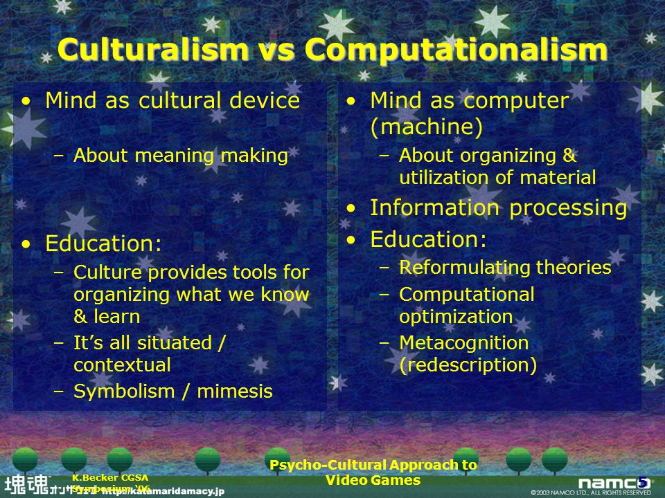 Psycho-Cultural Approach to Video Games 5 K.Becker CGSA Symposium '06 Culturalism vs Computationalism Mind as cultural device –About meaning making Education: –Culture provides tools for organizing what we know & learn –It's all situated / contextual –Symbolism / mimesis Mind as computer (machine) –About organizing & utilization of material Information processing Education: –Reformulating theories –Computational optimization –Metacognition (redescription)