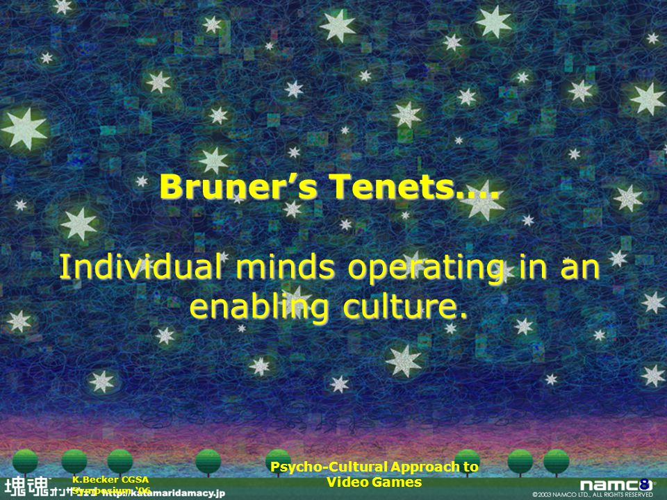 Psycho-Cultural Approach to Video Games 8 K.Becker CGSA Symposium '06 Bruner's Tenets….