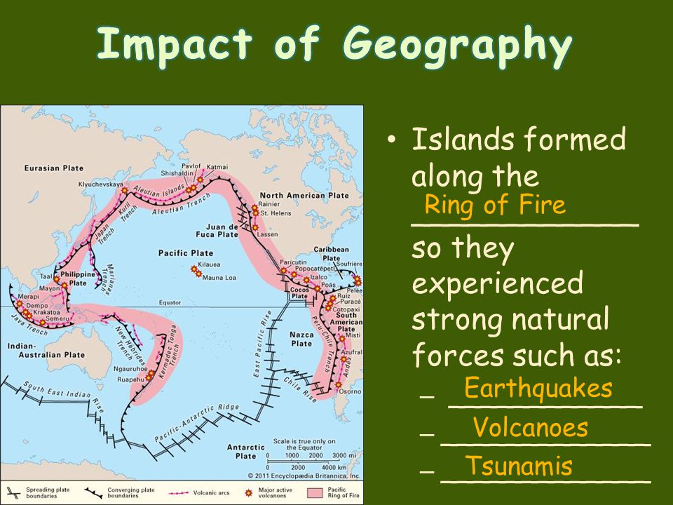 Islands formed along the ____________ so they experienced strong natural forces such as: – ____________ – _____________ Ring of Fire Earthquakes Volca