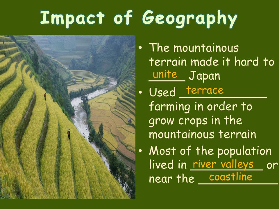 The mountainous terrain made it hard to _____ Japan Used ____________ farming in order to grow crops in the mountainous terrain Most of the population