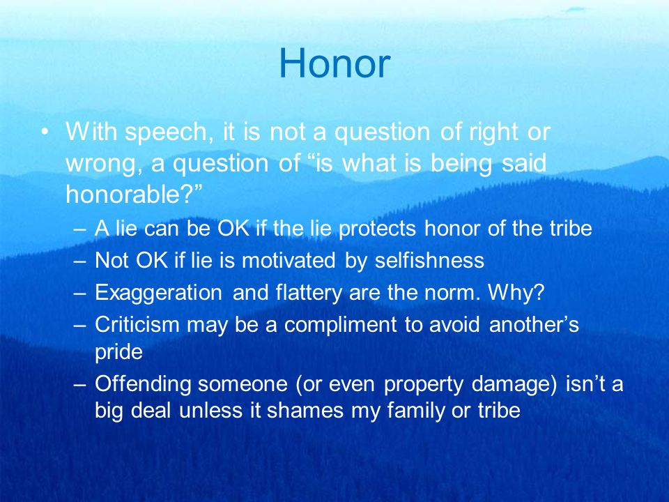 "Honor With speech, it is not a question of right or wrong, a question of ""is what is being said honorable?"" –A lie can be OK if the lie protects honor"