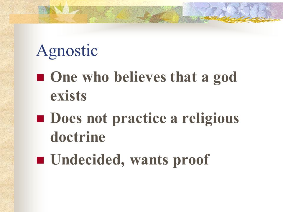 Agnostic One who believes that a god exists Does not practice a religious doctrine Undecided, wants proof