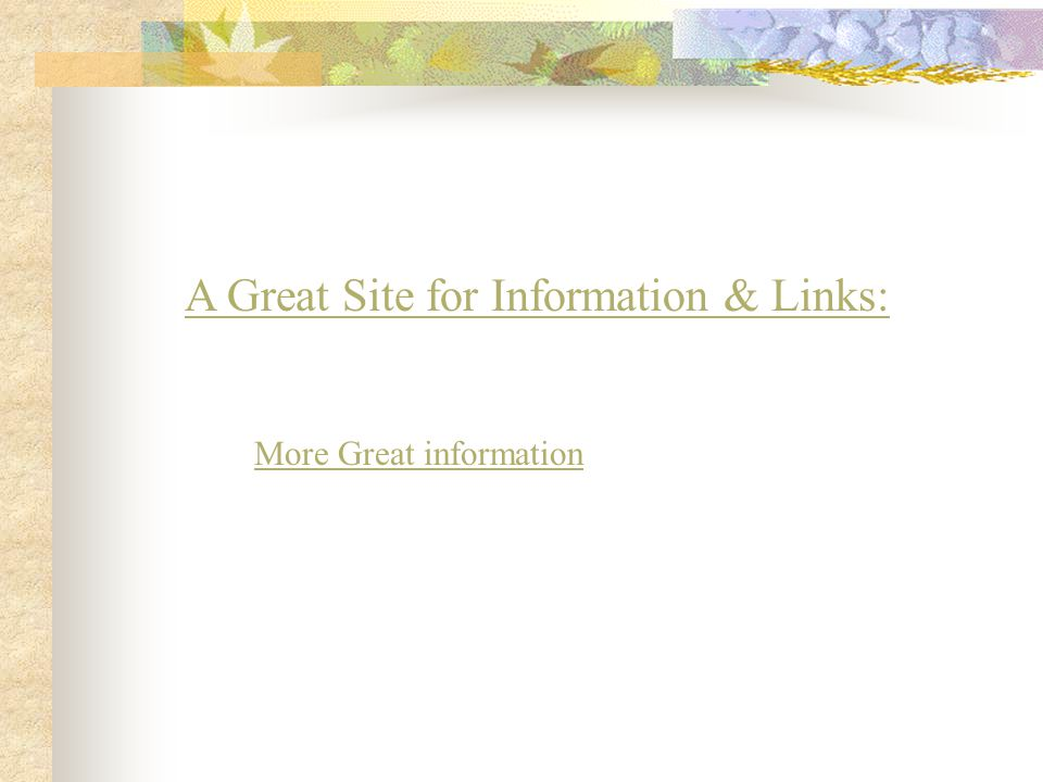 A Great Site for Information & Links: More Great information