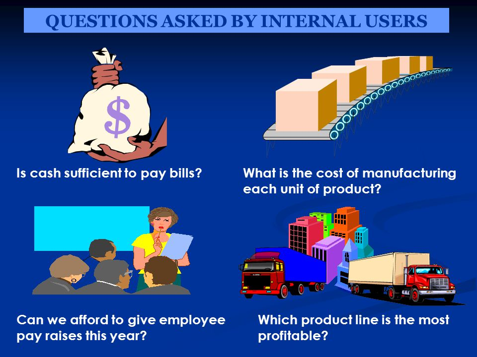 QUESTIONS ASKED BY INTERNAL USERS Is cash sufficient to pay bills What is the cost of manufacturing each unit of product.
