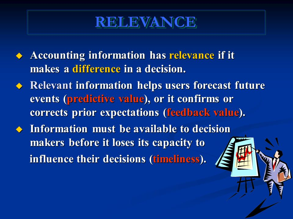 RELEVANCERELEVANCE  Accounting information has relevance if it makes a difference in a decision.