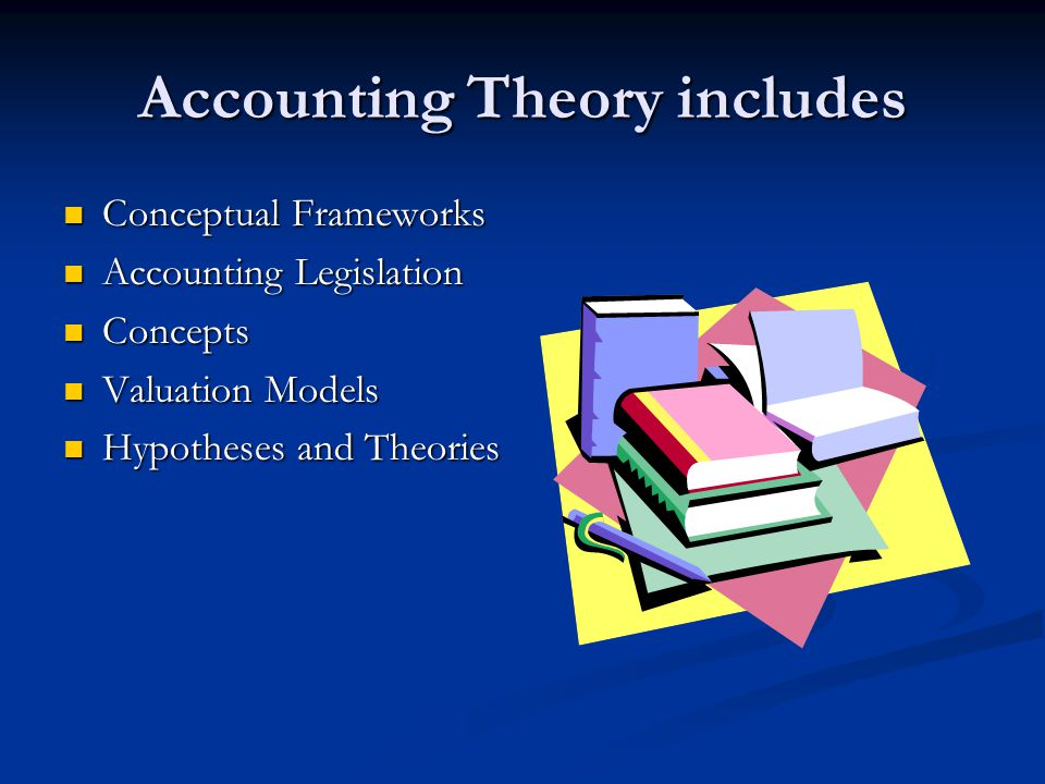 Accounting Theory includes Conceptual Frameworks Conceptual Frameworks Accounting Legislation Accounting Legislation Concepts Concepts Valuation Models Valuation Models Hypotheses and Theories Hypotheses and Theories