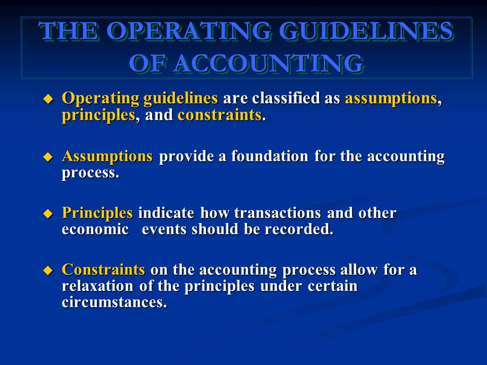  Operating guidelines are classified as assumptions, principles, and constraints.