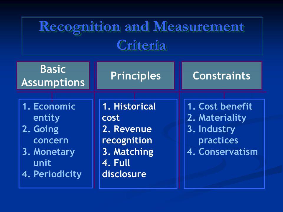 Basic Assumptions 1. Economic entity 2. Going concern 3.