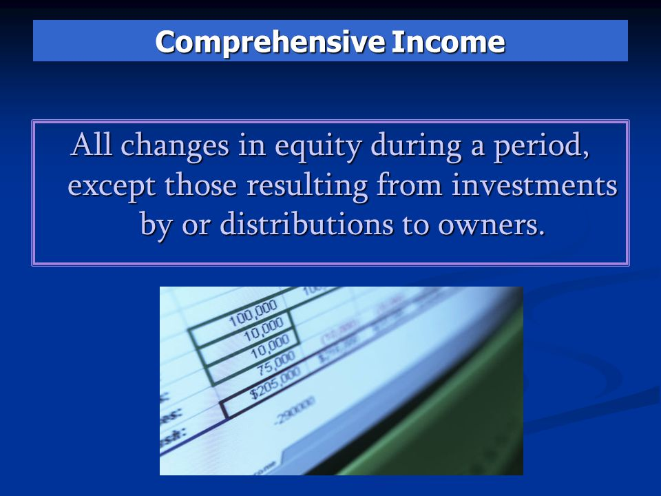 Comprehensive Income All changes in equity during a period, except those resulting from investments by or distributions to owners.
