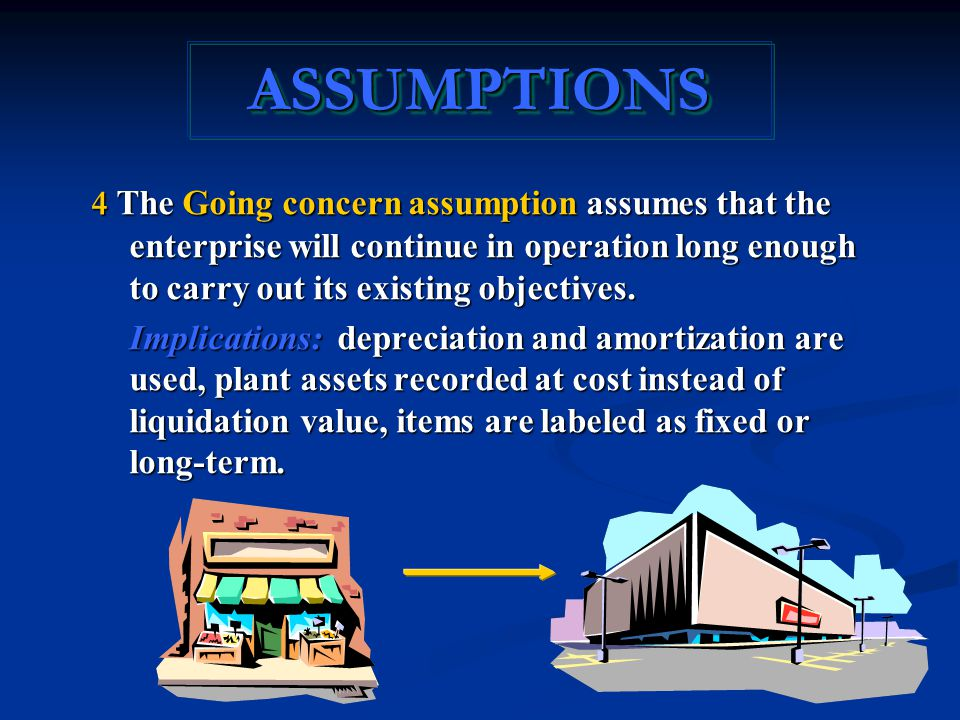 4 The Going concern assumption assumes that the enterprise will continue in operation long enough to carry out its existing objectives.
