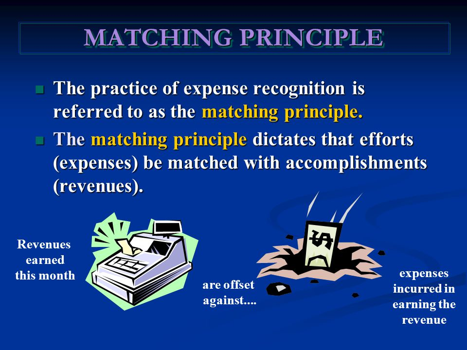 The practice of expense recognition is referred to as the matching principle. The practice of expense recognition is referred to as the matching princ
