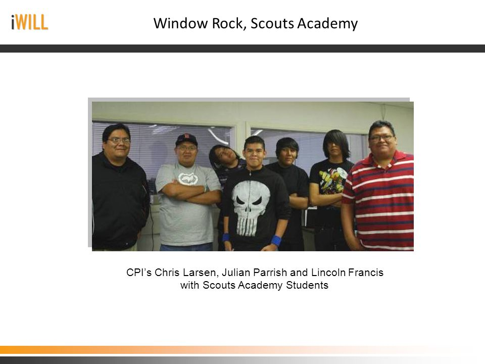 CPI's Chris Larsen, Julian Parrish and Lincoln Francis with Scouts Academy Students Window Rock, Scouts Academy