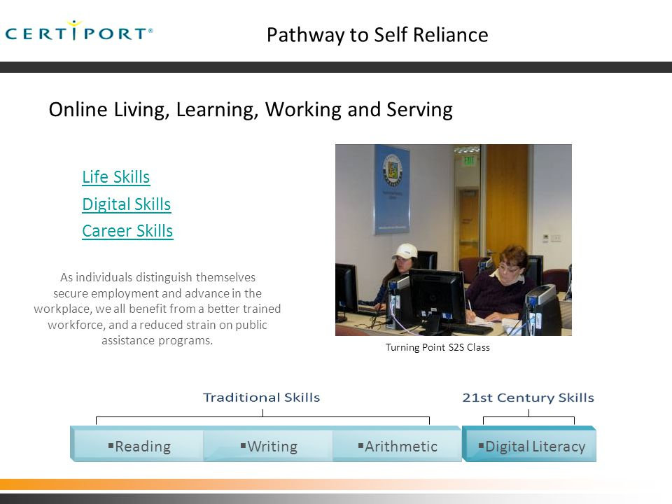 Pathway to Self Reliance Online Living, Learning, Working and Serving Life Skills Digital Skills Career Skills As individuals distinguish themselves secure employment and advance in the workplace, we all benefit from a better trained workforce, and a reduced strain on public assistance programs.