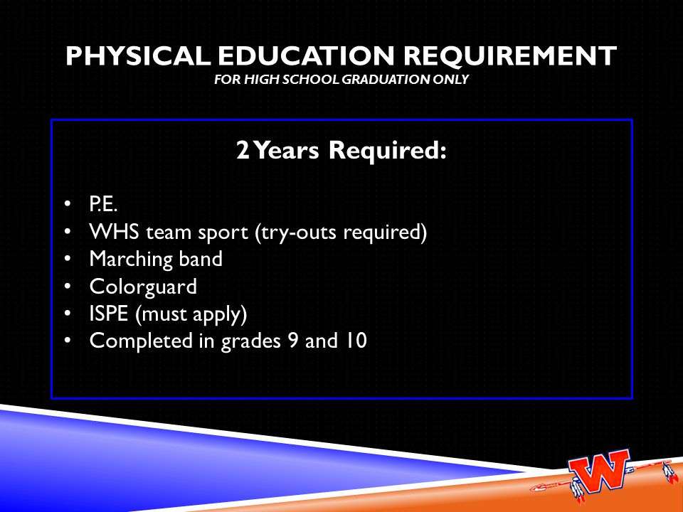 PHYSICAL EDUCATION REQUIREMENT PHYSICAL EDUCATION REQUIREMENT FOR HIGH SCHOOL GRADUATION ONLY 2 Years Required: P.E.