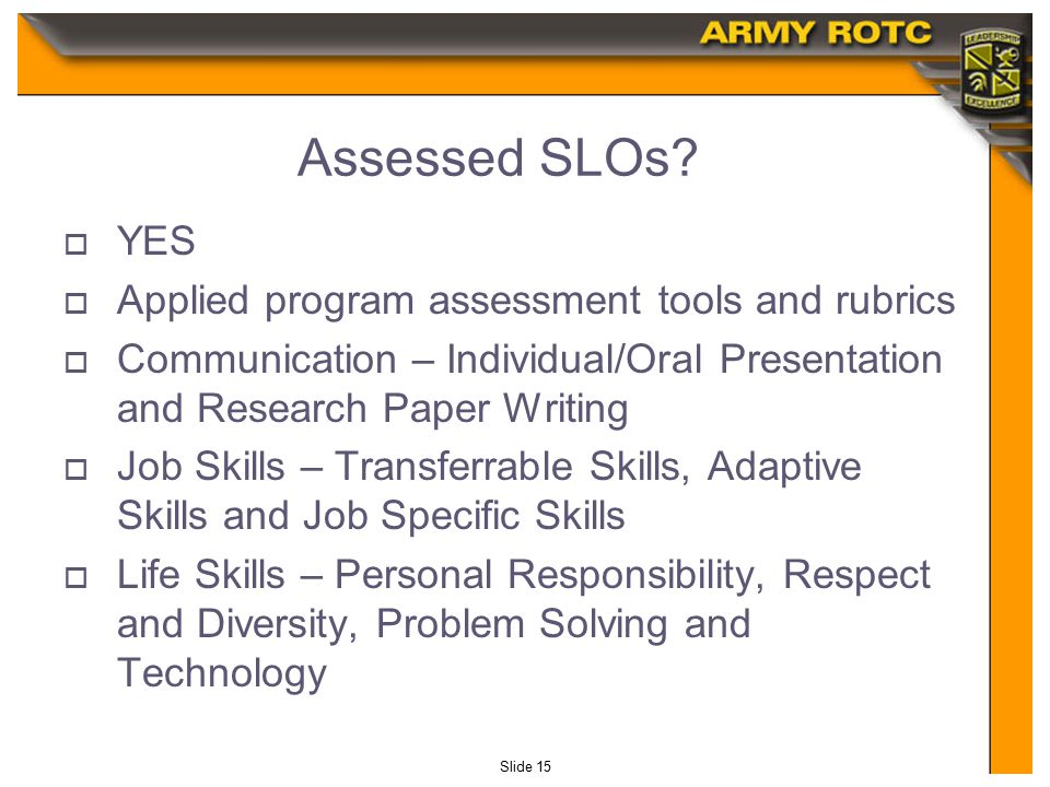 Slide 15 Assessed SLOs.