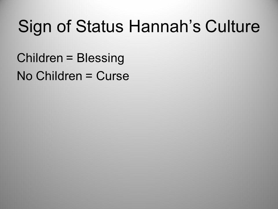Sign of Status Hannah's Culture Children = Blessing No Children = Curse