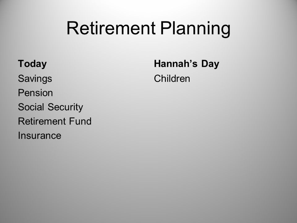 Retirement Planning Today Savings Pension Social Security Retirement Fund Insurance Hannah's Day Children