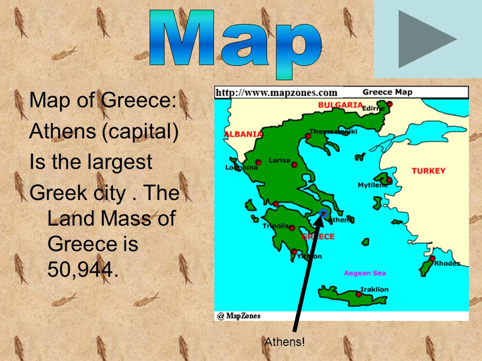 Map of Greece: Athens (capital) Is the largest Greek city. The Land Mass of Greece is 50,944. Athens!