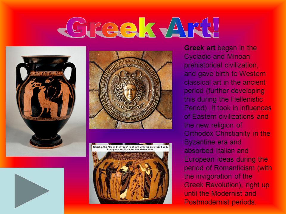 Greek art began in the Cycladic and Minoan prehistorical civilization, and gave birth to Western classical art in the ancient period (further developi