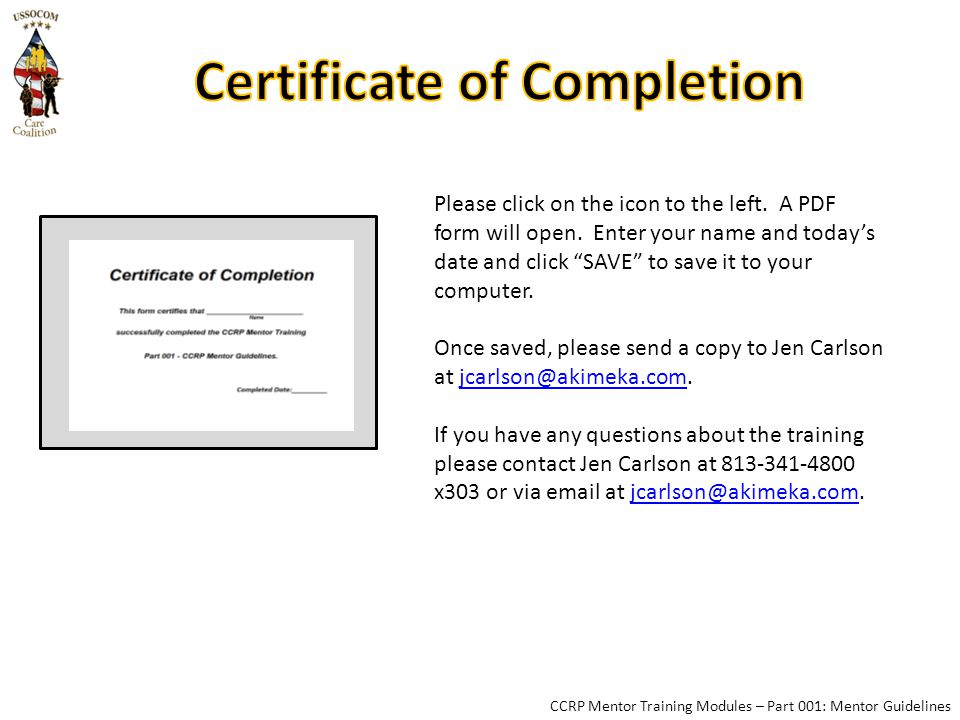 CCRP Mentor Training Modules – Part 001: Mentor Guidelines Please click on the icon to the left.