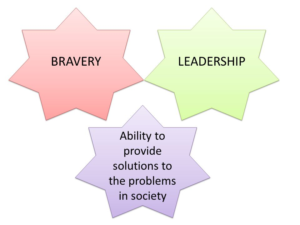 BRAVERY LEADERSHIP Ability to provide solutions to the problems in society