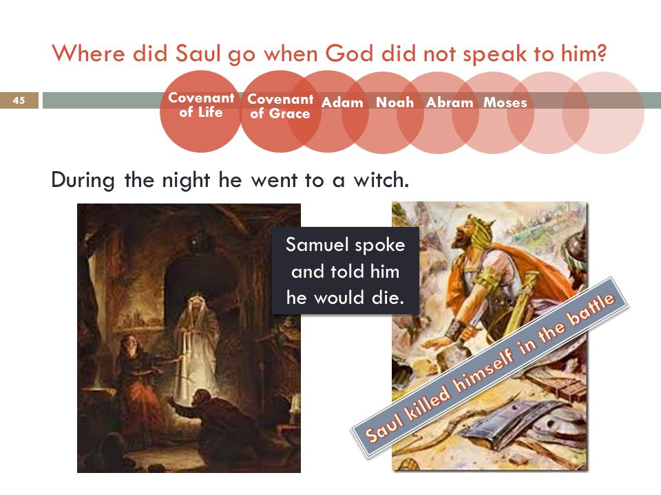 Where did Saul go when God did not speak to him. 45 During the night he went to a witch.