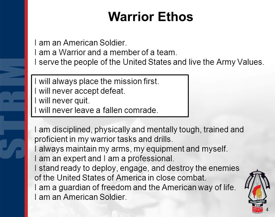44 I am an American Soldier. I am a Warrior and a member of a team.