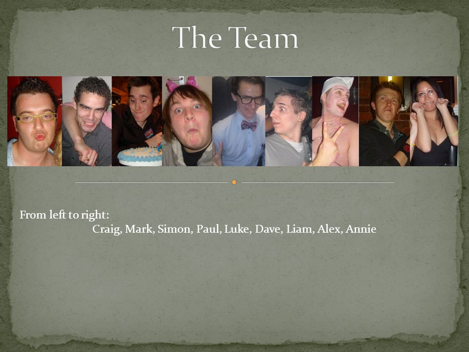 From left to right: Craig, Mark, Simon, Paul, Luke, Dave, Liam, Alex, Annie