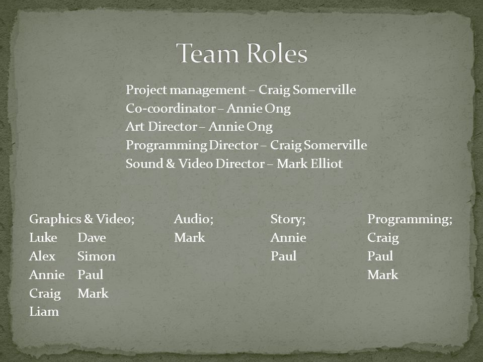Project management – Craig Somerville Co-coordinator – Annie Ong Art Director – Annie Ong Programming Director – Craig Somerville Sound & Video Director – Mark Elliot Graphics & Video;Audio;Story;Programming; LukeDaveMarkAnnieCraig AlexSimonPaulPaul AnniePaulMark CraigMark Liam