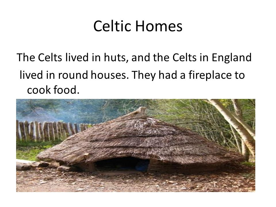 Celtic Homes The Celts lived in huts, and the Celts in England lived in round houses.