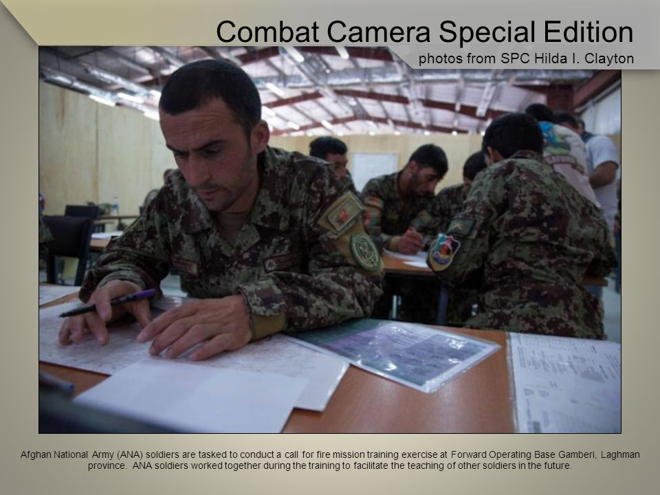 Afghan National Army (ANA) soldiers are tasked to conduct a call for fire mission training exercise at Forward Operating Base Gamberi, Laghman province.