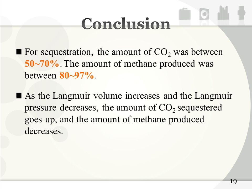 For sequestration, the amount of CO 2 was between 50~70%.