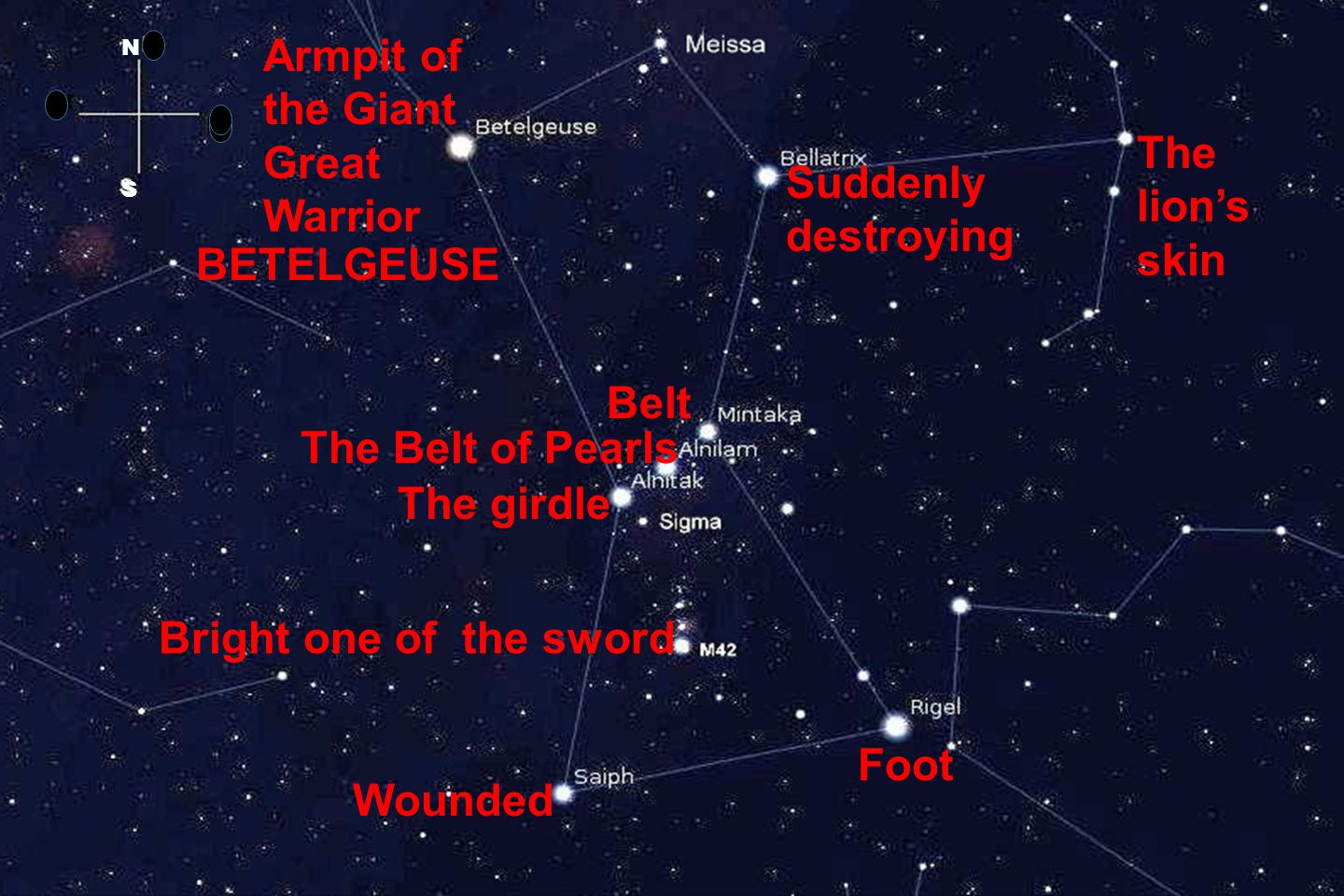 Belt Armpit of the Giant Great Warrior The Belt of Pearls The girdle Bright one of the sword Foot Suddenly destroying Wounded The lion's skin BETELGEUSE N S