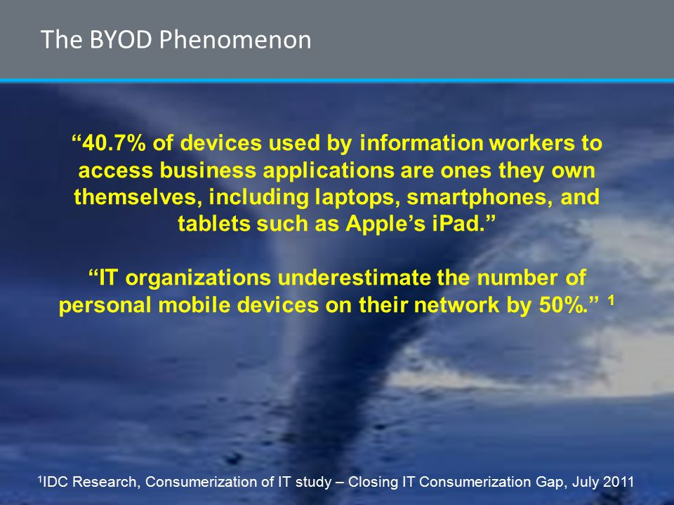 © 2012 ForeScout Technologies, Page 2 The BYOD Phenomenon 40.7% of devices used by information workers to access business applications are ones they own themselves, including laptops, smartphones, and tablets such as Apple's iPad. IT organizations underestimate the number of personal mobile devices on their network by 50%. 1 1 IDC Research, Consumerization of IT study – Closing IT Consumerization Gap, July 2011