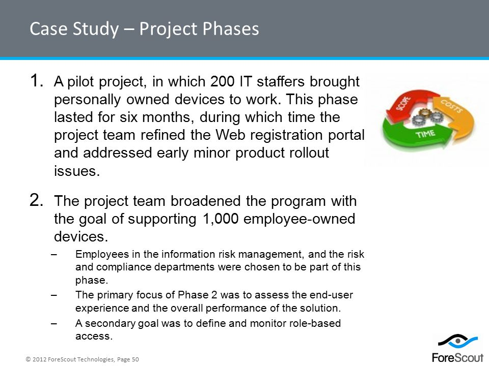 © 2012 ForeScout Technologies, Page 50 Case Study – Project Phases 1.