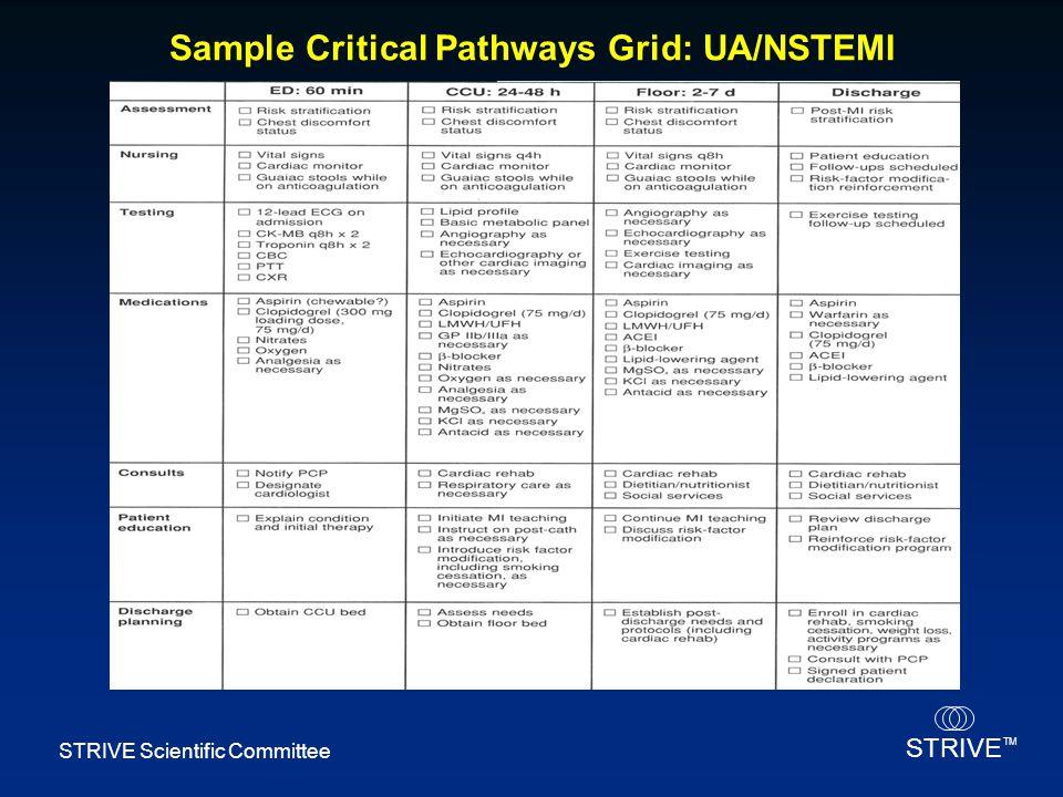 STRIVE TM STRIVE Scientific Committee Sample Critical Pathways Grid: UA/NSTEMI