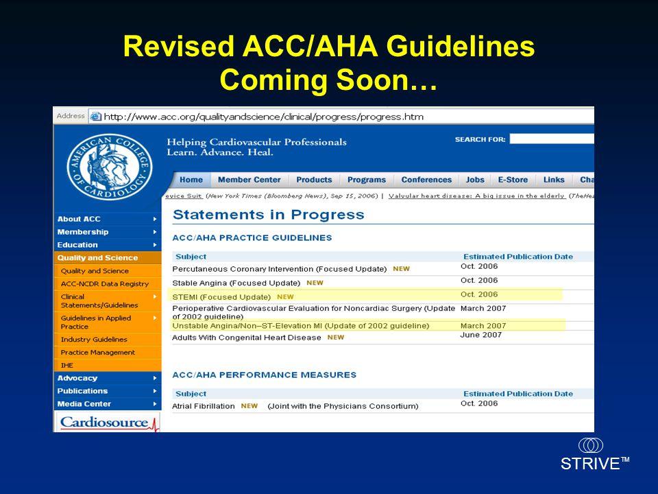 STRIVE TM Revised ACC/AHA Guidelines Coming Soon…